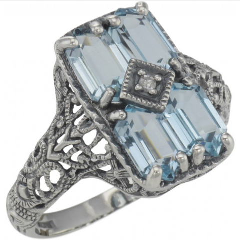 Sterling Blue Topaz and Diamond Ring