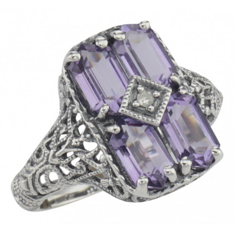 Sterling Amethyst and Diamond Filigree Ring