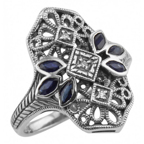Sterling Sapphire and Diamond Filigree Ring