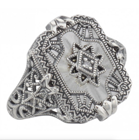 Sterling Camphor Glass Crystal Filigree Diamond Ring