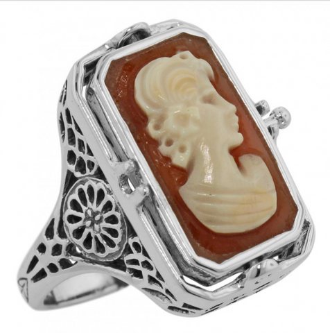 Sterling Cameo and Onyx Filigree Flip Ring
