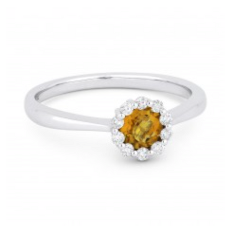 White Gold Citrine and Diamond Fashion Ring
