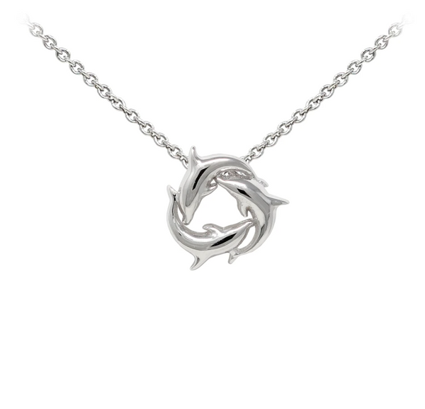 Dolphins Sterling Silver Dainty Necklace