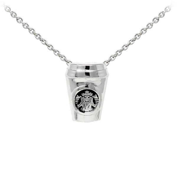 Coffee Cup Sterling Silver Dainty Necklace