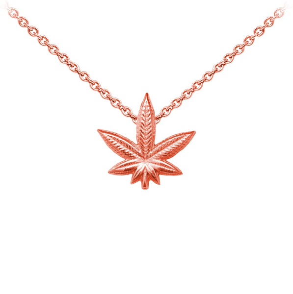 Hemp Leaf Sterling Silver Dainty Necklace
