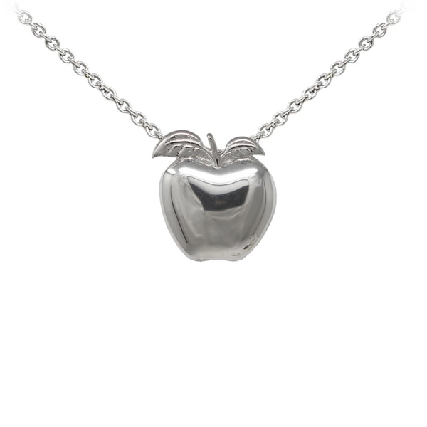 Teacher's Apple Sterling Silver Dainty Necklace