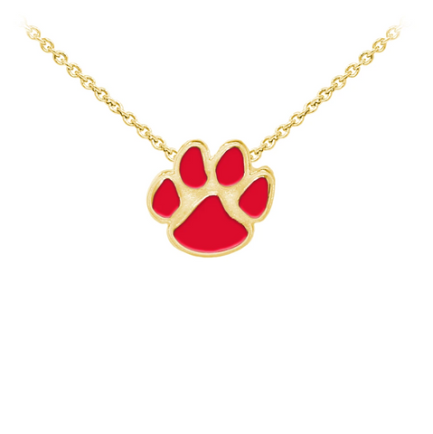 Enameled Paw Print Sterling Silver Dainty Necklace