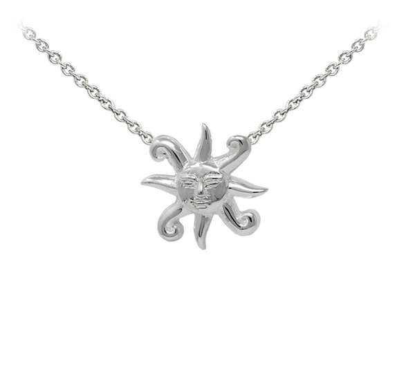 Sun with Face Sterling Silver Dainty Necklace