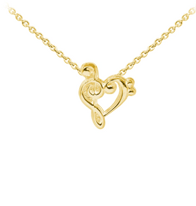 Music Heart Sterling Silver Dainty Necklace