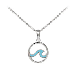 Wind & Fire Enameled Outline Wave Sterling Silver Dainty Necklace Welch Jewelers Inspection and Cleaning Syracuse NY