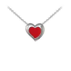 Wind & Fire Red Enameled Heart Sterling Silver Dainty Necklace Welch Jewelers Inspection and Cleaning Syracuse NY