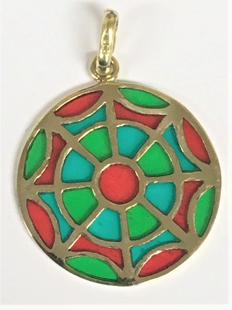 14k yellow gold Green & Red Ornament Pendant