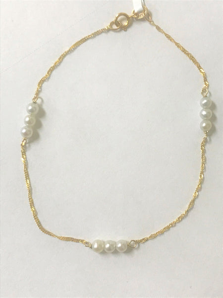 "7.5"" 14k yellow gold Pearl Station Bracelet"