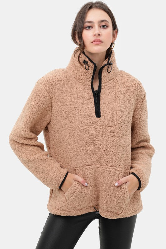 Sherpa Fleece Half Zip Up Pullover Top Camel