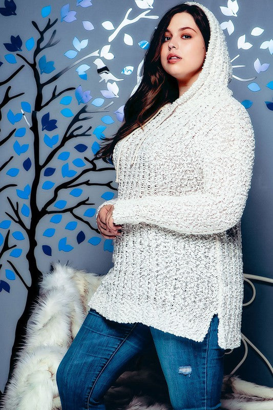 Plus Size Popcorn Knit Tunic Hoodie Sweater Cream