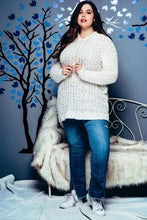 Load image into Gallery viewer, Plus Size Popcorn Knit Tunic Hoodie Sweater Cream