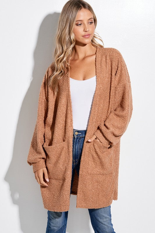 Fluffy Cozy Cardigan Camel with Pockets