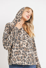 Load image into Gallery viewer, Soft Leopard Print Brushed Knit Hoodie