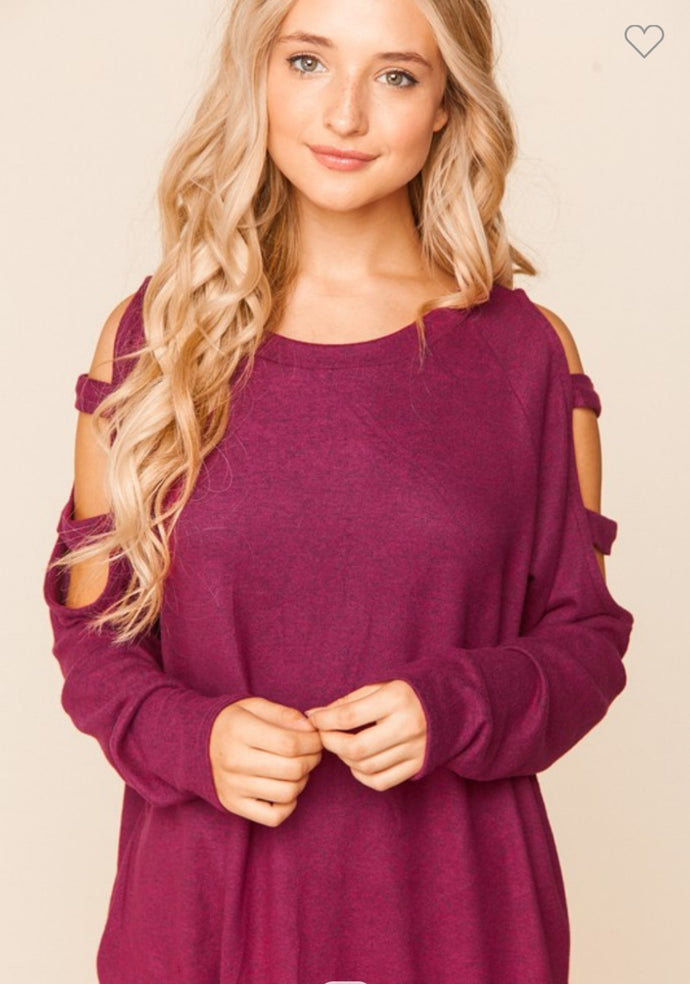 Magenta Hacci Cut Out Shoulder Raglan Blouse