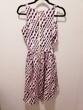 Load image into Gallery viewer, Line & Dot Geometric Cut Out Silk Dress Medium