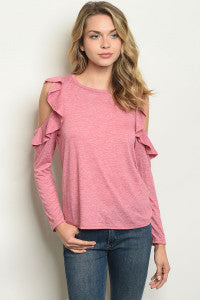 Cranberry Ruffled Cold Sleeve Top