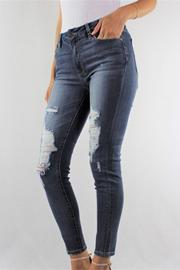 Dark Wash High Rise Destroyed Skinny Jean 1% Lycra
