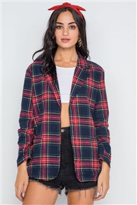 Navy Plaid Open Front Long Sleeve Blazer