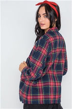 Load image into Gallery viewer, Navy Plaid Open Front Long Sleeve Blazer