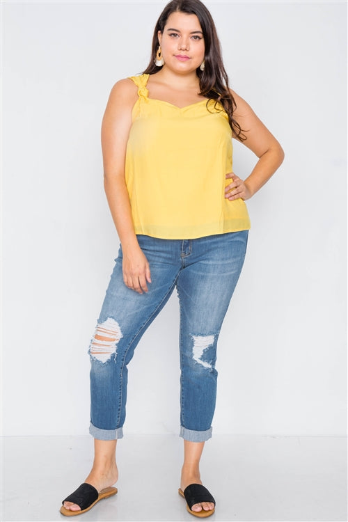 Canary Yellow V-Neck Gathered Shoulder Casual Tank Junior Plus Size