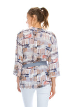 Load image into Gallery viewer, Serenity Tie Waist Top with Wide 3/4 Sleeves Multi