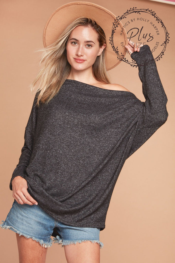 Women Plus Black Hacci Slouchy Dolman Top