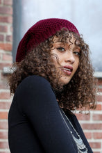 Load image into Gallery viewer, Waffle Knit Slouch Beanie Gray Black Burgundy