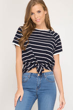 Load image into Gallery viewer, Multi Stripe Crop Shirt Tie Front Navy