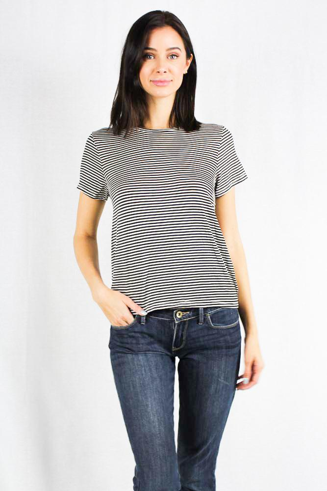 Short Sleeve Striped Crew Neck Shirt Open Back