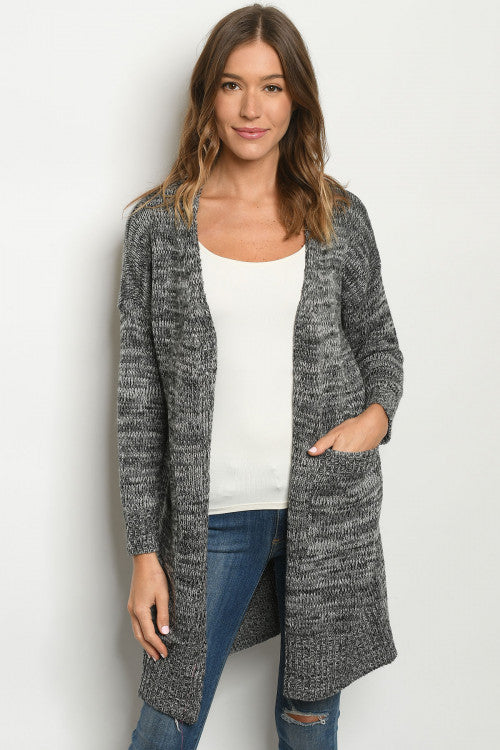 One Size Grey Open Cardigan