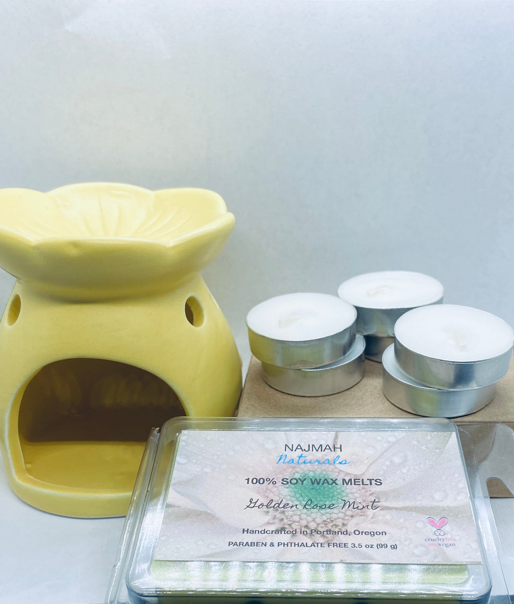 Our Wax Melts Bundle includes any one 3.5 oz package of Soy Wax Melts, one Wax Warmer, and six Tealight Candles.