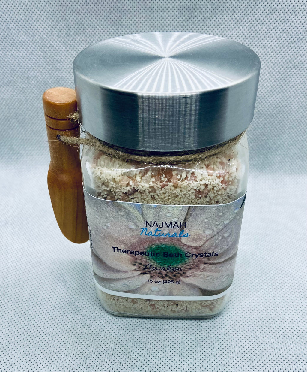 Our Awaken Therapeutic Bath Crystals are the ultimate reviving, self care herbal salts with Epson Salt, Himalayan Pink Salt, Sodium Bicarbonate (Aluminum-Free), Organic Essential Oils, Calendula Officinalis Flowers and Apricot Oil.