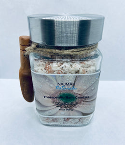 Our Lights Out Therapeutic Bath Crystals are the ultimate relaxation, self care herbal salts with Epson Salt, Himalayan Pink Salt, Sodium Bicarbonate (Aluminum-Free), Lavender Flowers, Organic Coconut Oil and Essential Oils.
