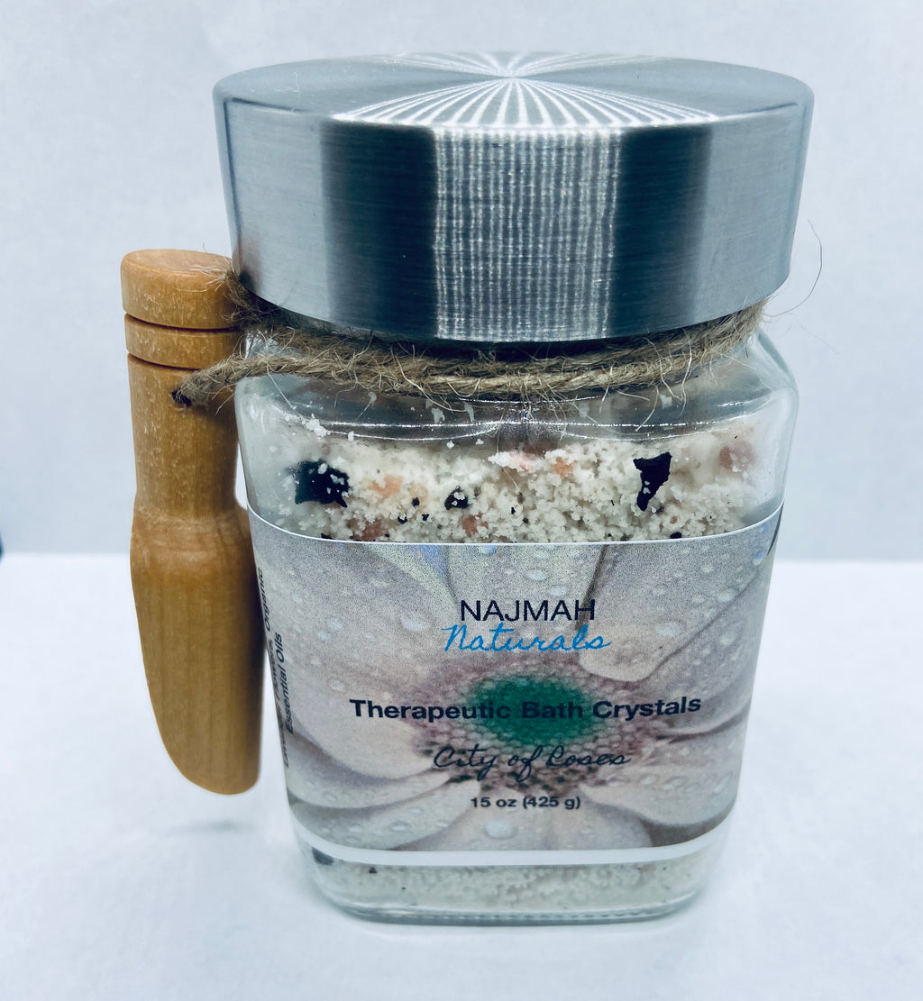 Our City of Roses Therapeutic Bath Crystals are the ultimate relaxation, self care herbal salts with Epson Salt, Himalayan Pink Salt, Sodium Bicarbonate (Aluminum-Free), Almond Oil, Echinacea Purpurea Root, Lavender Flowers and Organic Essential Oils.