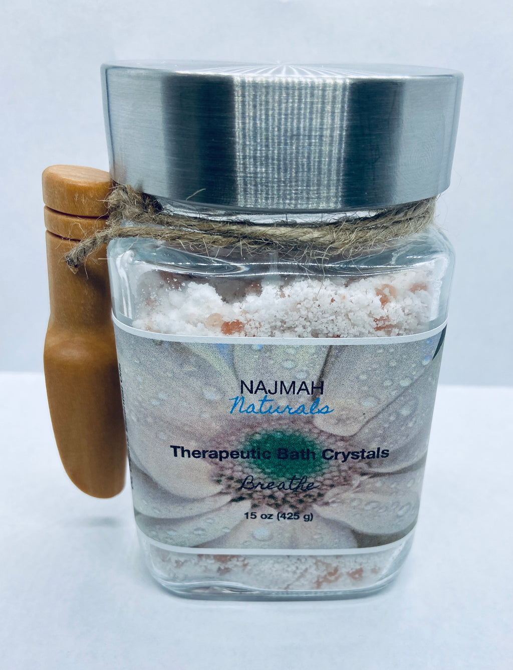 Our Breathe Therapeutic Bath Crystals are the ultimate relaxation, self care herbal salts with Epson Salt, Himalayan Pink Salt, Sodium Bicarbonate (Aluminum-Free), Organic Coconut Oil and Organic Essential Oils. Smells like peppermint and it's a customer favorite!
