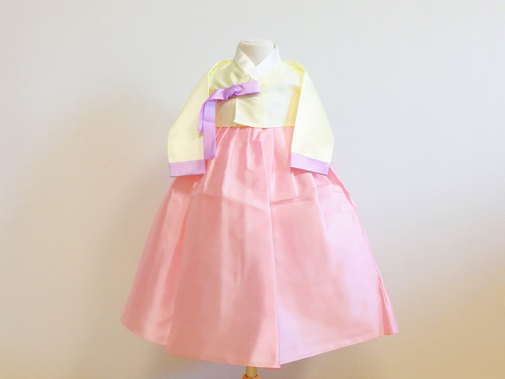 Pastel Girl's Hanbok (Solid Yellow Top)