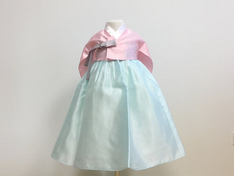 Pastel Girl's Hanbok (Solid Pink Top)
