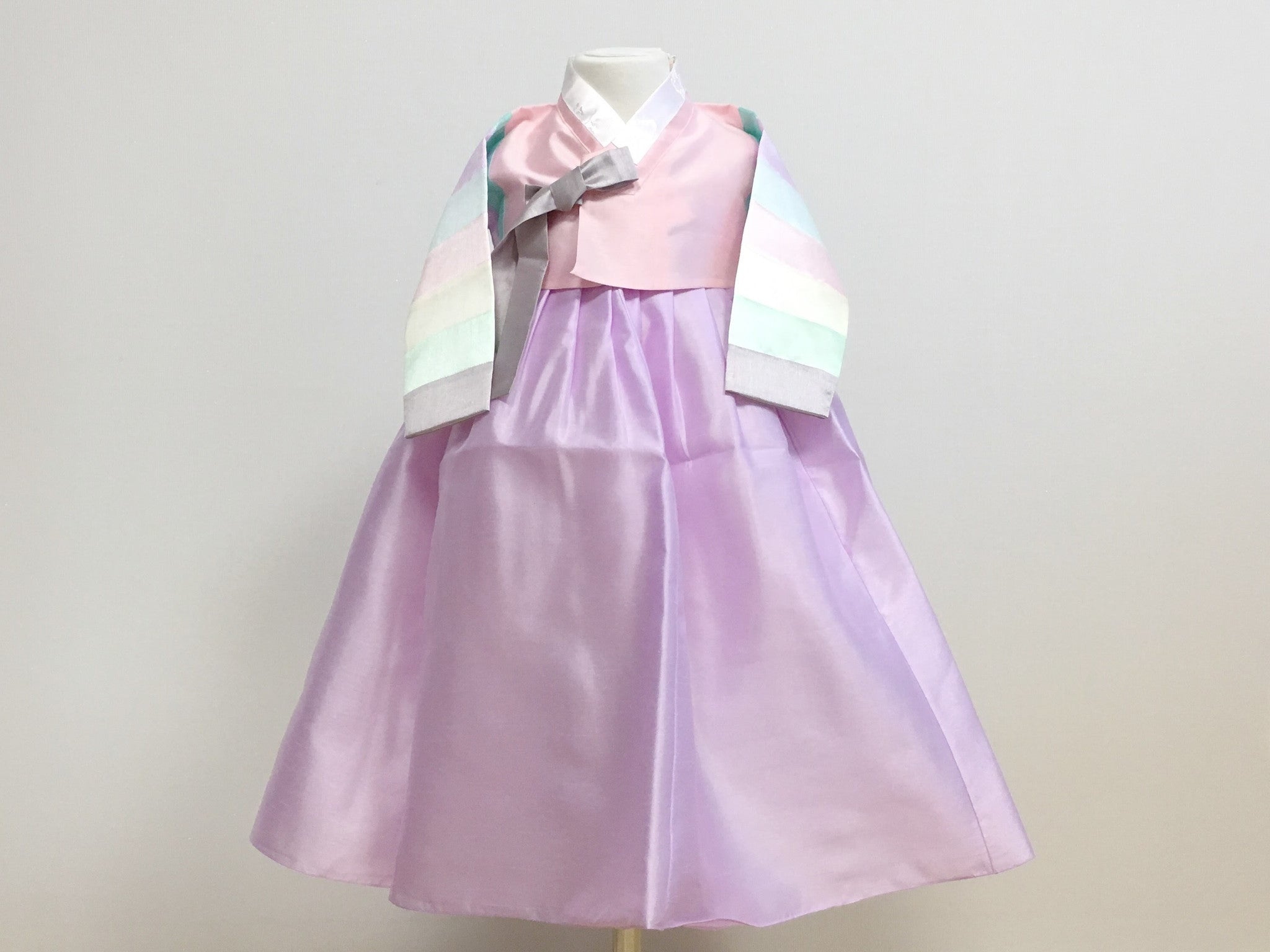 Pastel Girl's Hanbok (Rainbow Pink Top)
