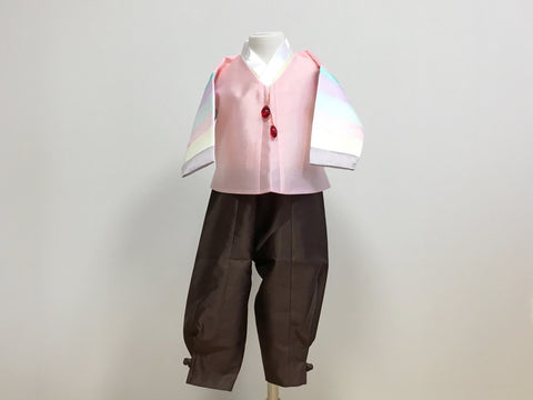 Pastel Boy's Hanbok (Rainbow Pink Top)