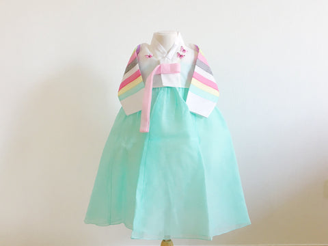 Butterfly GIRL'S HANBOK White/Mint