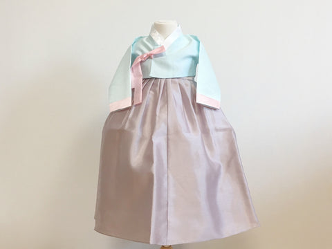 Pastel Girl's Hanbok (Solid Blue Top)