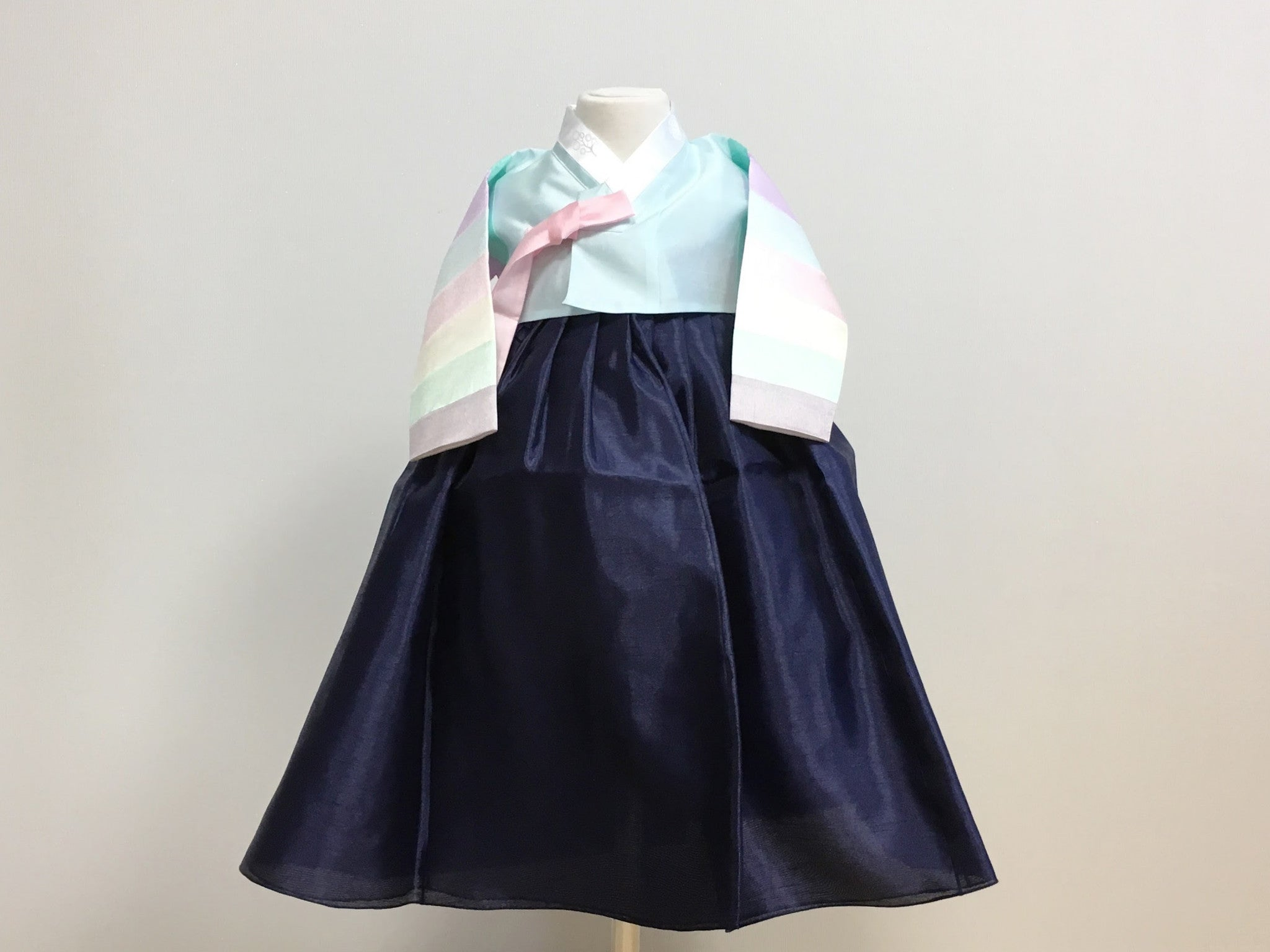 Pastel Girl's Hanbok (Rainbow Blue Top)