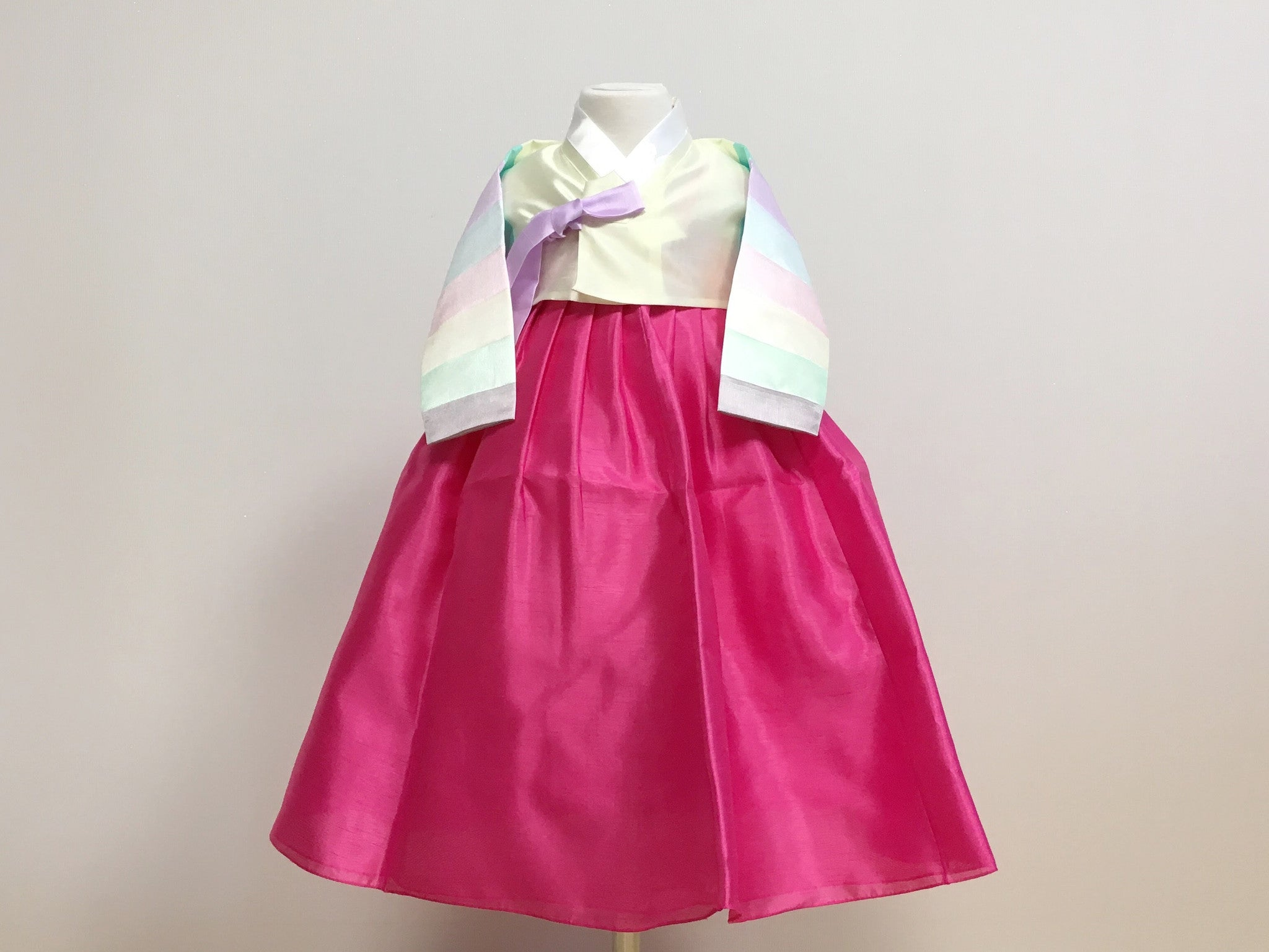 Pastel Girl's Hanbok (Rainbow Yellow Top)