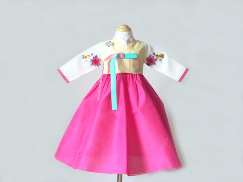 Flower Girl's Hanbok (Yellow/Pink)