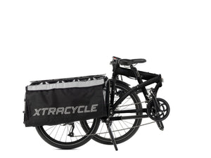 """Tern Cargo Node Gloss Black folding, cargo bike with 16 speed Shimano gears and hydraulic disc brakes, view when folded, Barnes Bikes"""